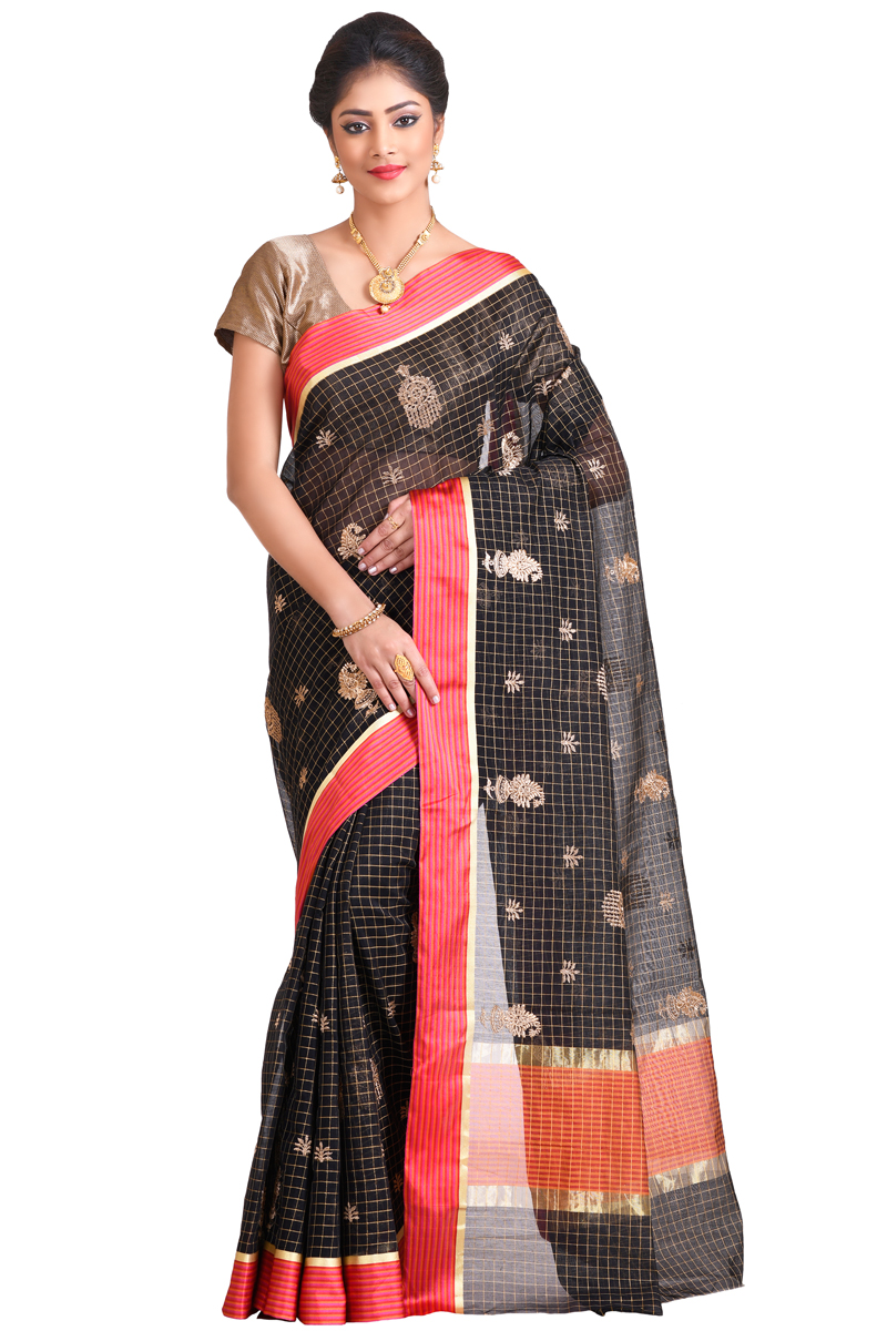 Black Color Golden Zari Work With Red Satin Border Chanderi Checks Saree