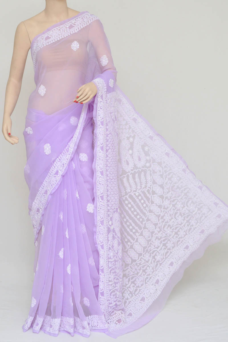 54c88b4d198dc6 Purple Color Hand Embroidered Lucknowi Chikankari Saree (with Blouse -  Georgette) Kc250754
