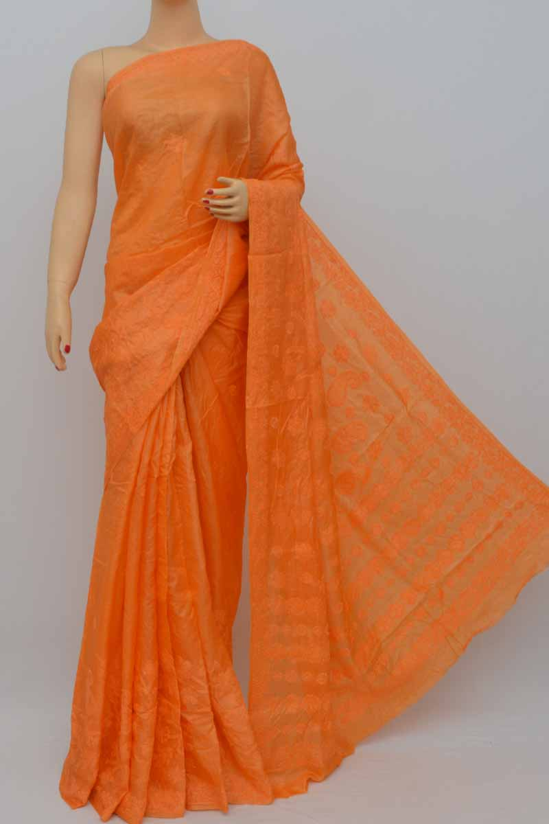 Orange Color Tussar Silk Lucknowi Chikankari Saree (With Blouse) KC250445