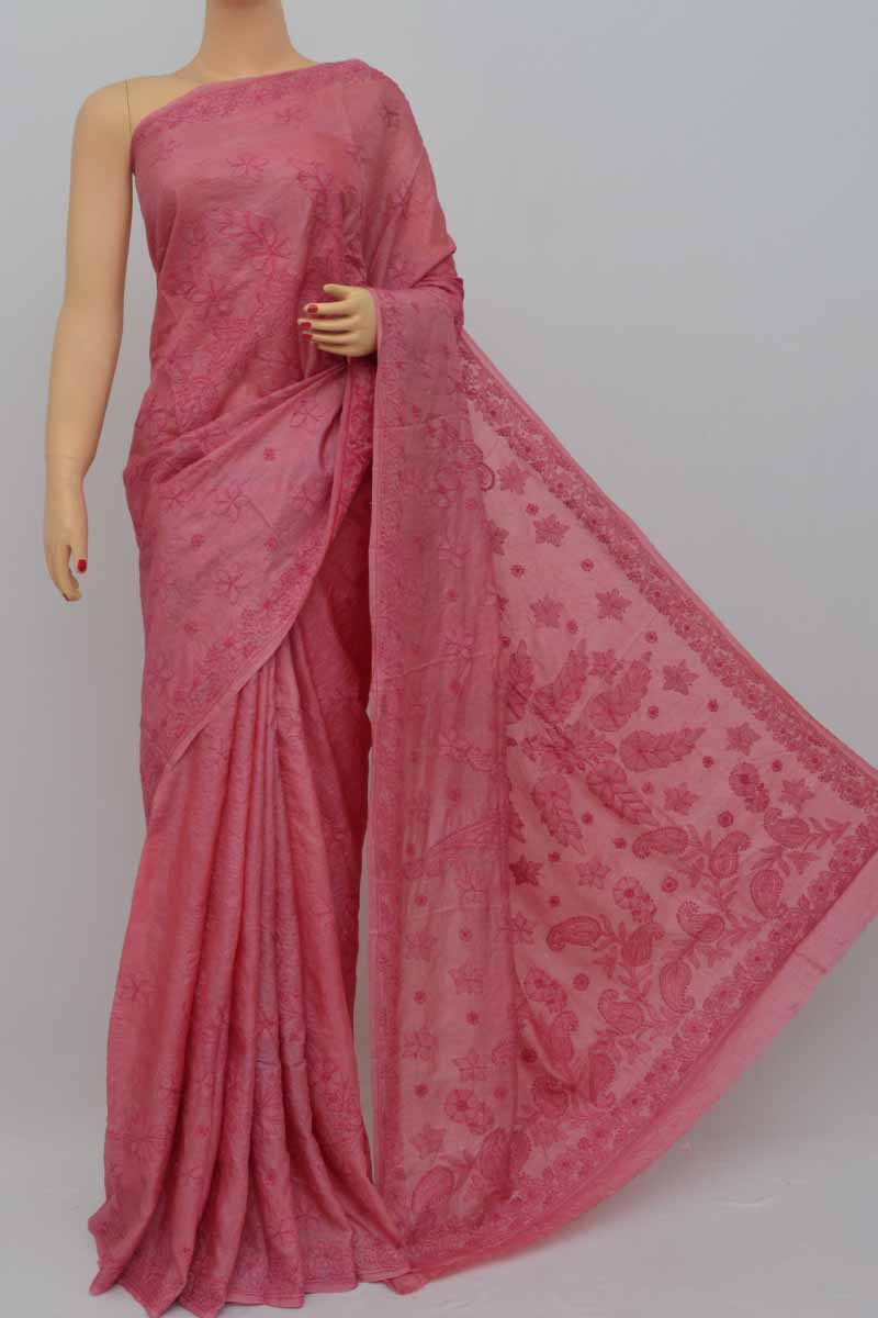 Punchpink Color Tussar Silk Lucknowi Chikankari Saree (With Blouse)  - MY250446