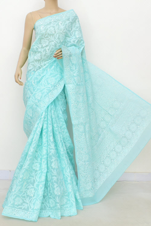Blue Allover Hand Embroidered Lucknowi Chikankari Saree (Cotton-With Blouse) 14737