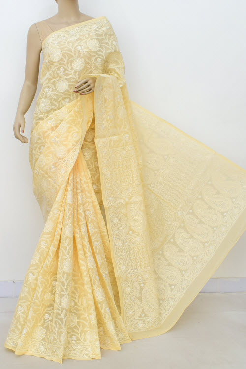 Light Yellow Allover Hand Embroidered Lucknowi Chikankari Saree (Cotton-With Blouse) 14743