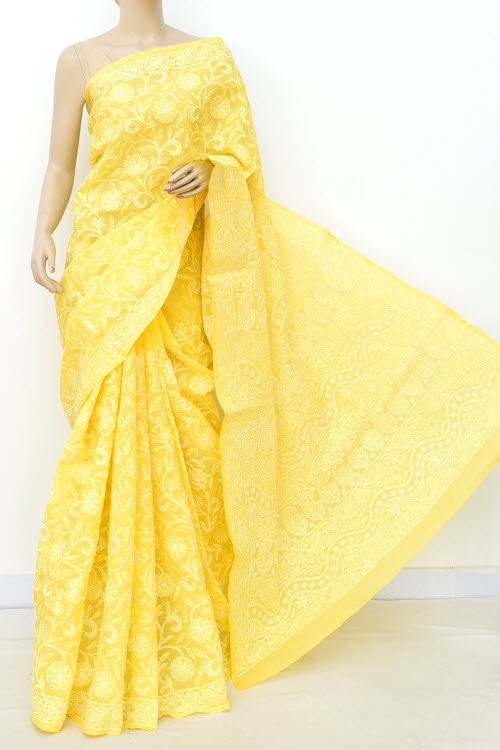 Yellow Allover Hand Embroidered Lucknowi Chikankari Saree (Cotton-With Blouse) 14744