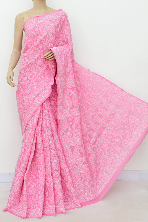 Pink Allover Hand Embroidered Lucknowi Chikankari Saree (Cotton-With Blouse) 14946