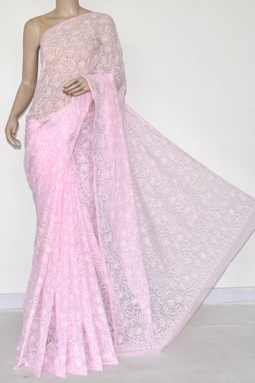 Pink Hand Embroidered Allover Tepchi Lucknowi Chikankari Saree (Georgette-With Blouse) 14821