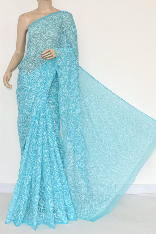 Blue Hand Embroidered Allover Tepchi Lucknowi Chikankari Saree (Georgette-With Blouse) 14826