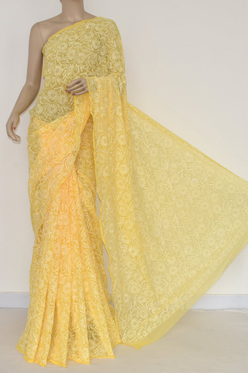 Yellow Hand Embroidered Allover Tepchi Lucknowi Chikankari Saree (Georgette-With Blouse) 14829