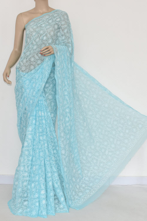 Blue Hand Embroidered Allover Tepchi Lucknowi Chikankari Saree (Georgette-With Blouse) 14835