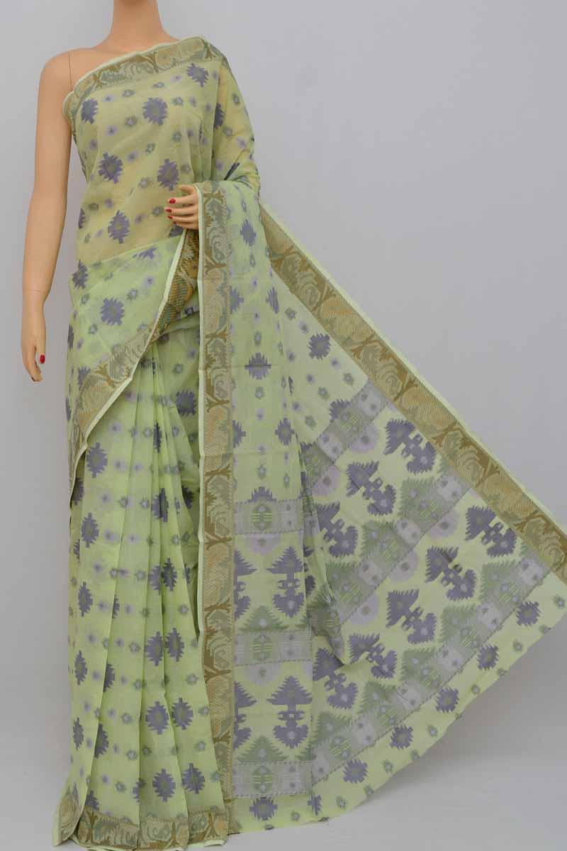 63d5847284 Lightgreen Color Cotton Tant Bengal Handloom Dhakai Jamdani Allover Saree  (Without Blouse) - SS250408