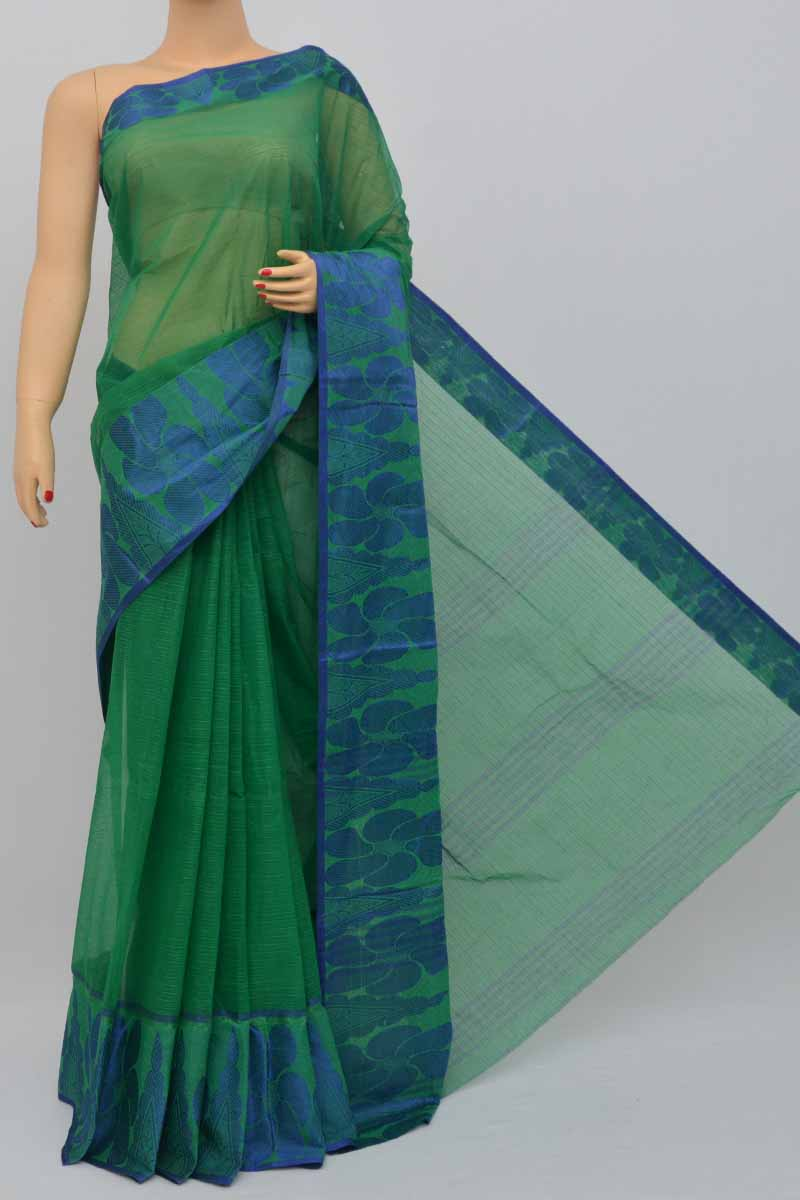 Green Colour Bengal Handloom Cotton Saree(Without Blouse) SM250452