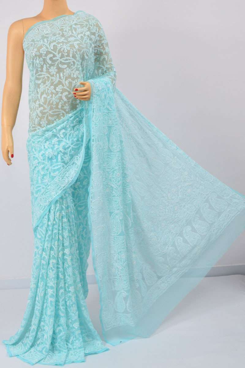 Sky Blue Color Allover Jaal, Heavy Palla Hand Embroidered Lucknowi Chikankari Saree (With Blouse - Georgette) MC250105