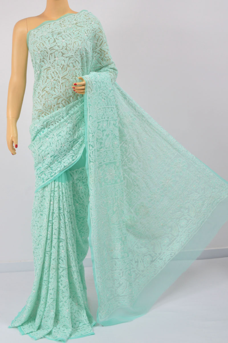 Mint Green Color Allover Jaal, Heavy Palla Hand Embroidered Lucknowi Chikankari Saree (With Blouse - Georgette) MC250106