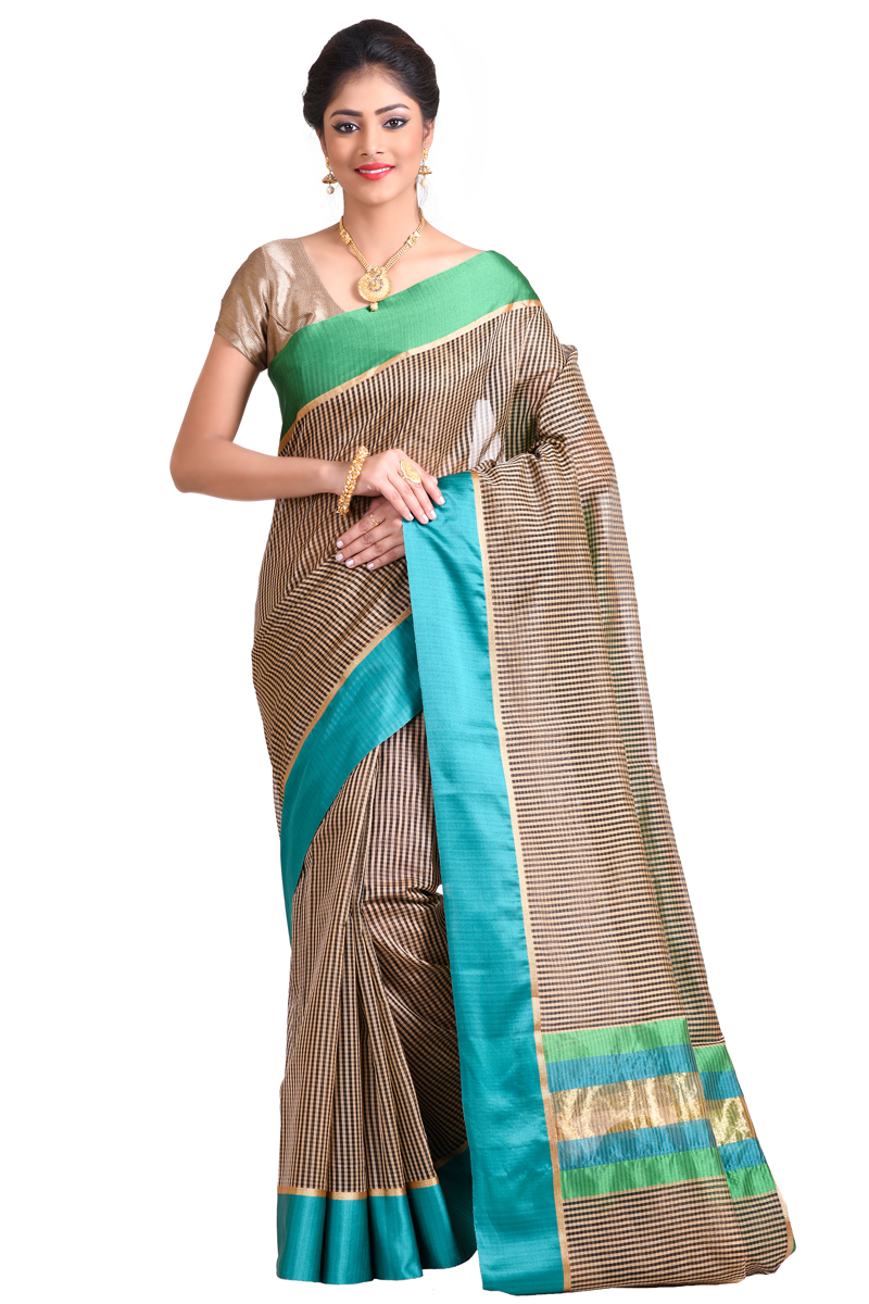 Blue-Grey Checks Chanderi Saree With Patta Border