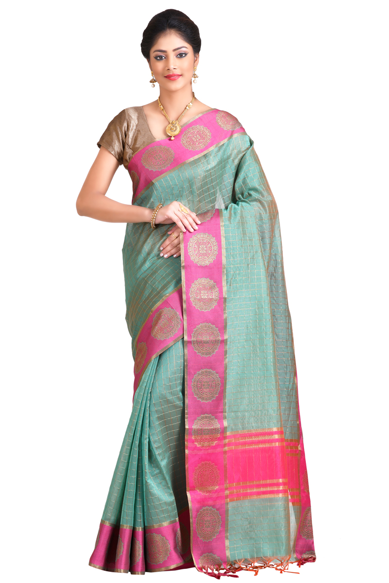 Light Cyan Color Zari Checks Chanderi Saree With Resham Zari Buta Border