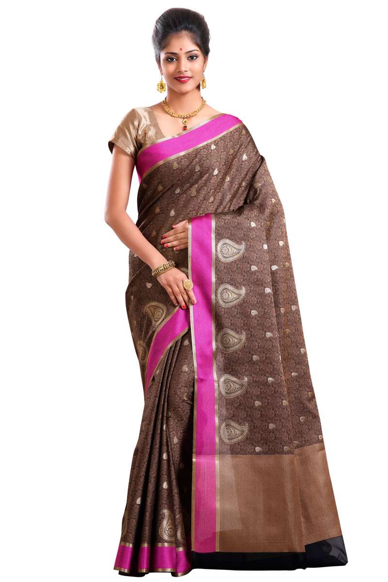 Chocolate Color Weaving Work Cora Saree With Resham Patta