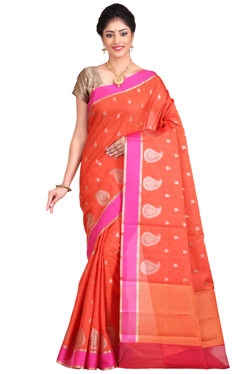 Rust Color Weaving Work Cora Saree With Resham Patta