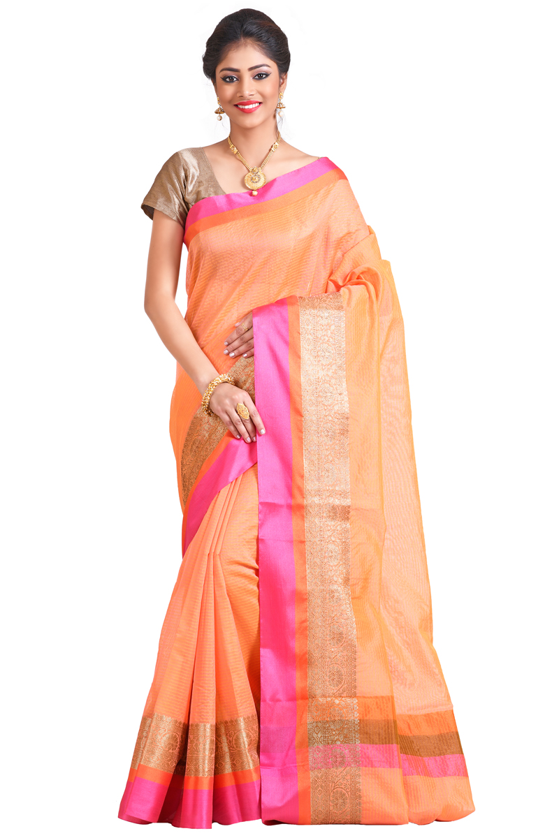 Safron Color Zari And Resham Patta Border On Plain Checks Chanderi Saree