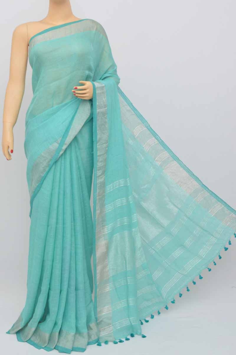 Seagreen Color Handwoven Textured Traditional Saree (With Blouse)zari border MY250453