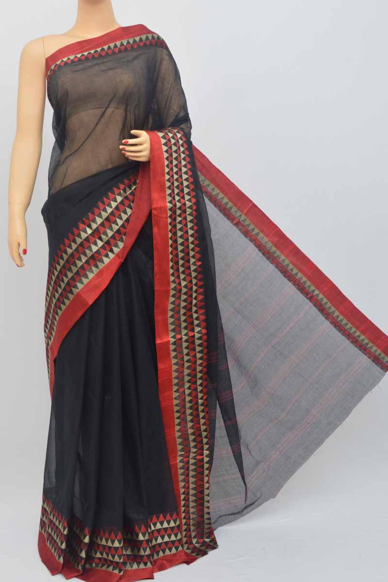 Black Colour Bengal Handloom Cotton Saree (Without Blouse) - SS250455