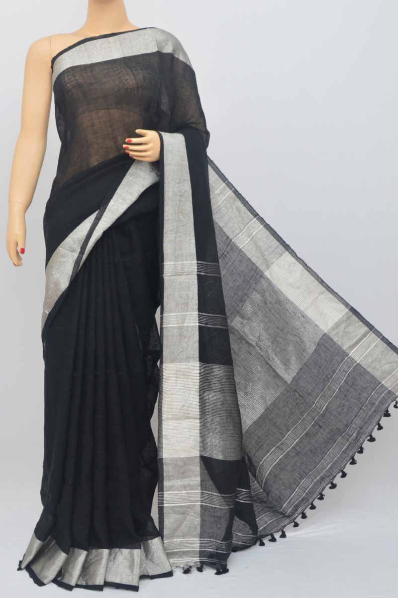 Black Color Handwoven Textured Traditional Saree (With Blouse)zari border MY250458