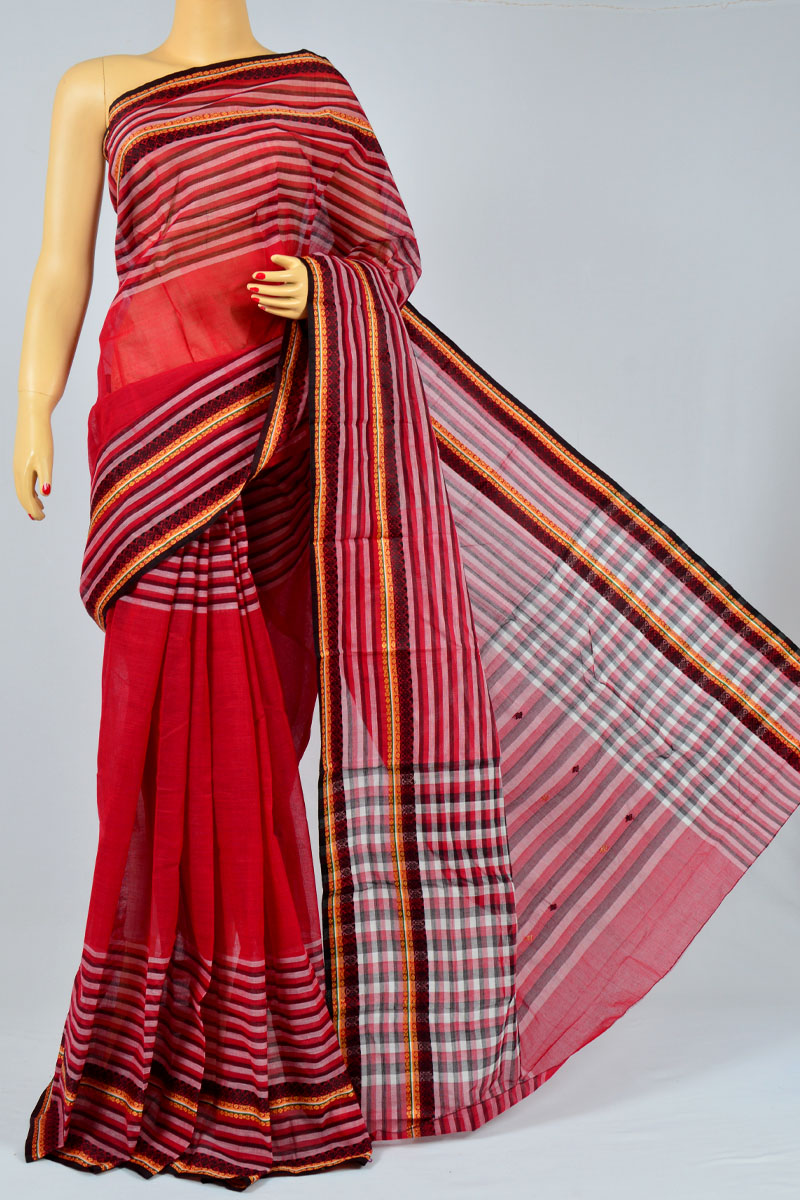 Rhubarb Red Color Handwoven Bengal Handloom Pure Cotton Tant Saree (without Blouse) - MC250164