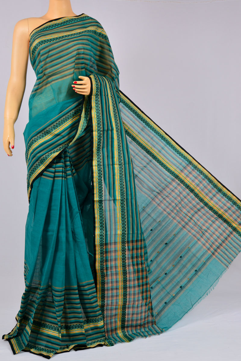 Pine Green Color Handwoven Bengal Handloom Pure Cotton Tant Saree (without Blouse) - KC250167