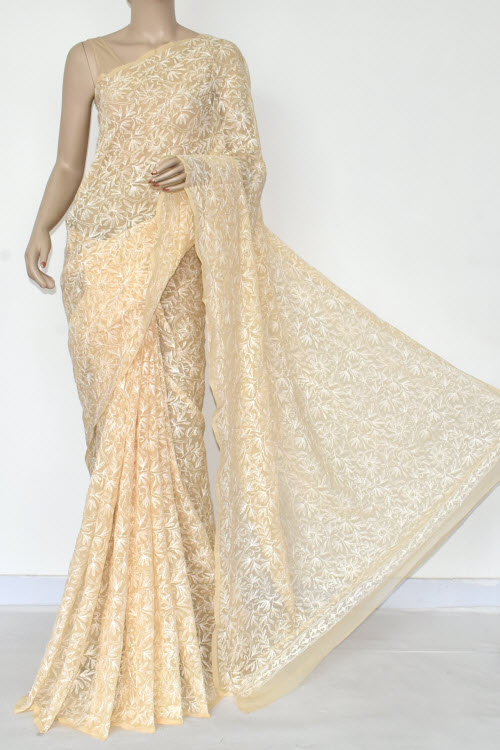 Burlywood Colour Hand Embroidered Allover Tepchi Lucknowi Chikankari Saree (Georgette-With Blouse) 14879
