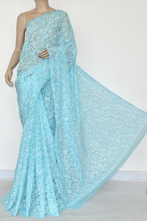Blue Hand Embroidered Allover Tepchi Lucknowi Chikankari Saree (Georgette-With Blouse) 14897