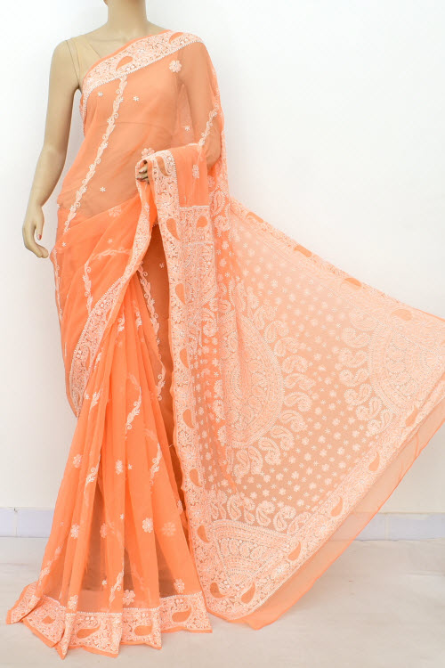 Orange Hand Embroidered Lucknowi Chikankari Saree (Georgette-With Blouse) 14625