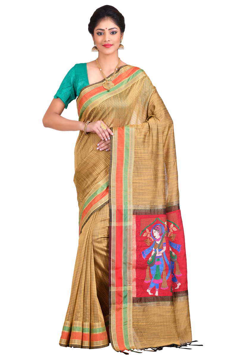 Golden Color Embroidered Pimples With Patta Border On Plain Checks Fancy Chanderi Saree