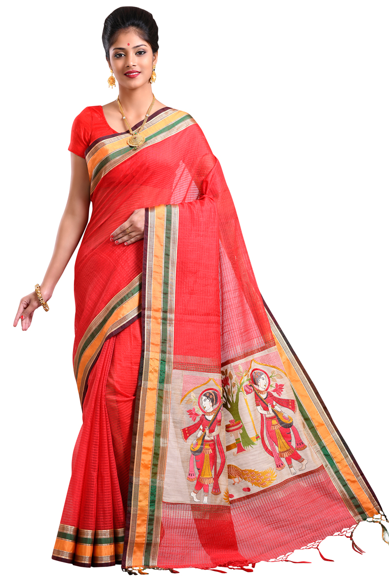 Brick Red Color Embroidered Pimples With Patta Border On Plain Checks Fancy Chanderi Saree