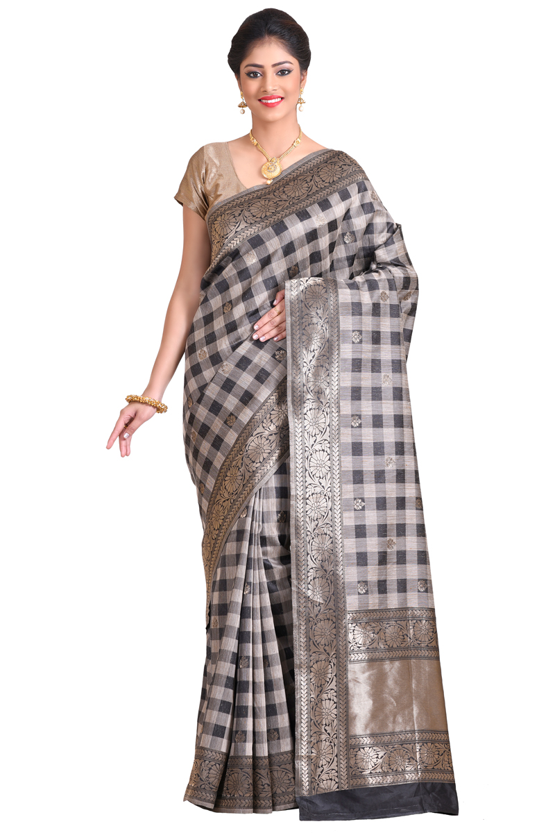 Black Color Zari Work And Bordered Handloom Silk Saree