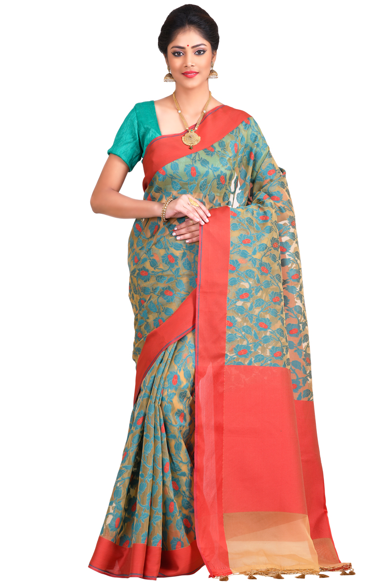 Cyan-Red Weaving Work Resham Patta Cora Saree