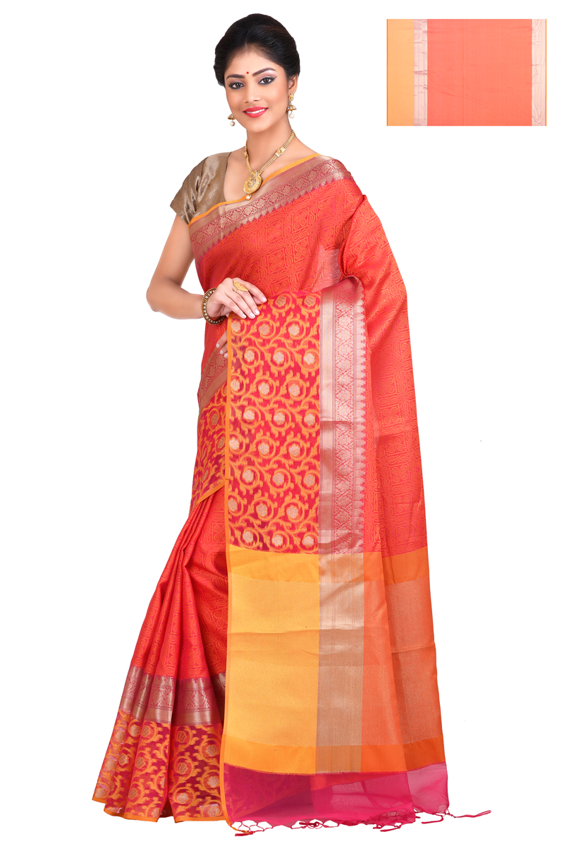 Red-rust Color Cora Weaving Saree With Zari Border