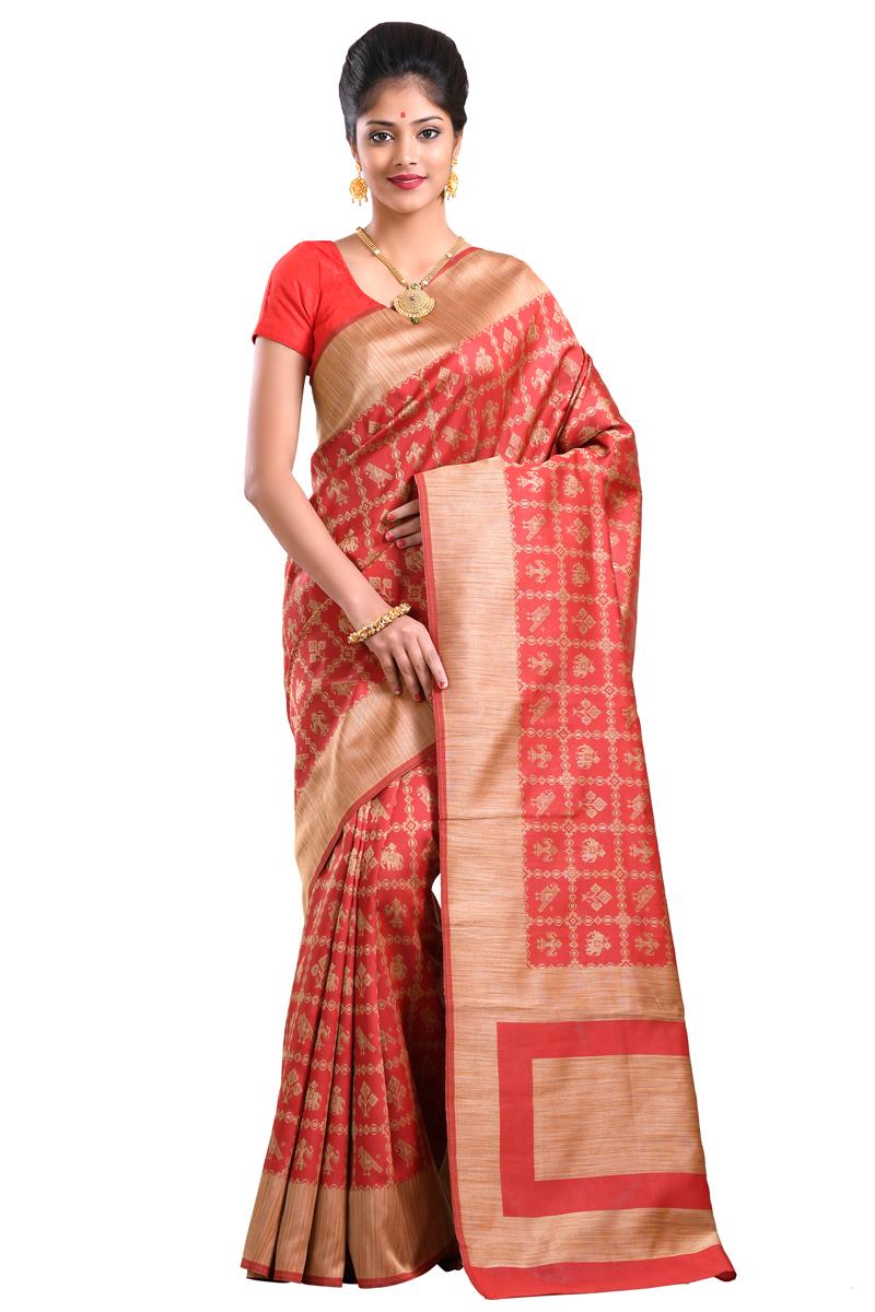 24bf1b7251436d Cherry Red Color Handloom Weaving Work Art Silk Saree With Resham Border