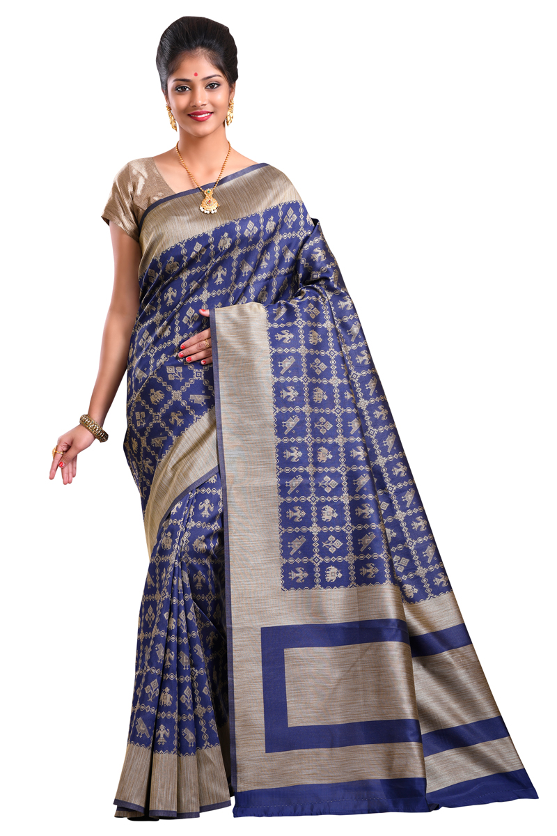 041494c151e01f Dark Blue Color Handloom Weaving Work Art Silk Saree With Resham Border