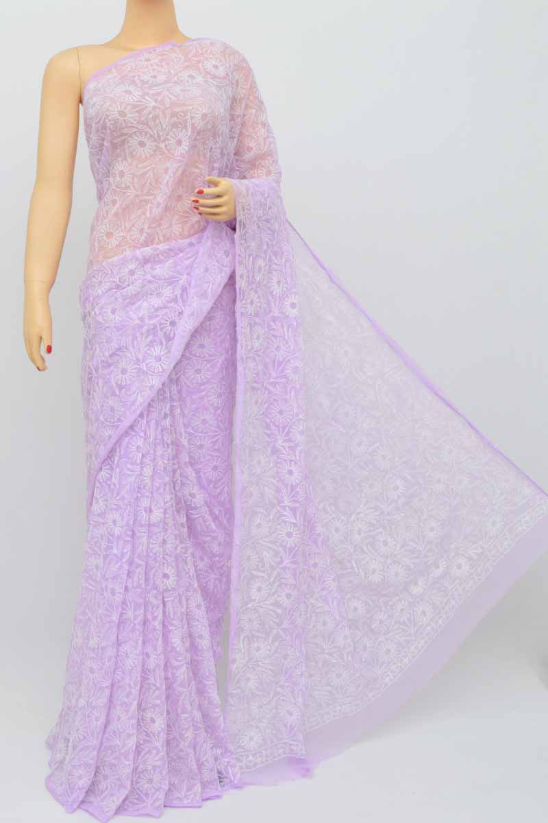 Lavender Color Hand Embroidered Tepchi Work Lucknowi Chikankari Saree(with Blouse- Georgette) Sm250479
