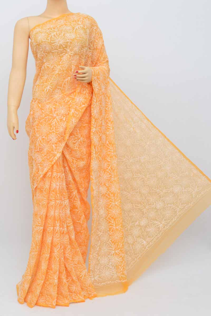 Orange Color Hand Embroidered Tepchi Work Lucknowi Chikankari Saree (with Blouse - Georgette) My250480