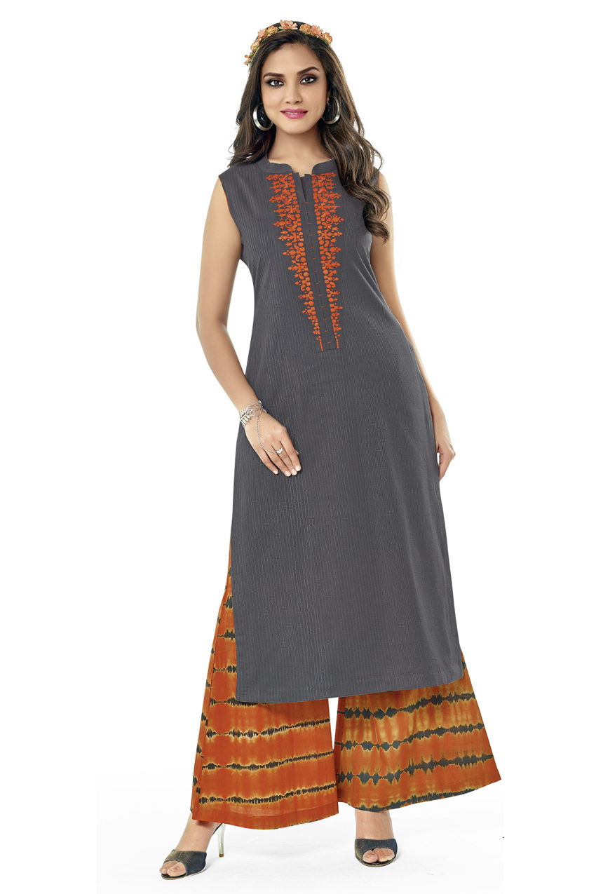 GREY KURTI WITH BANDHANI PRINT PLAZO