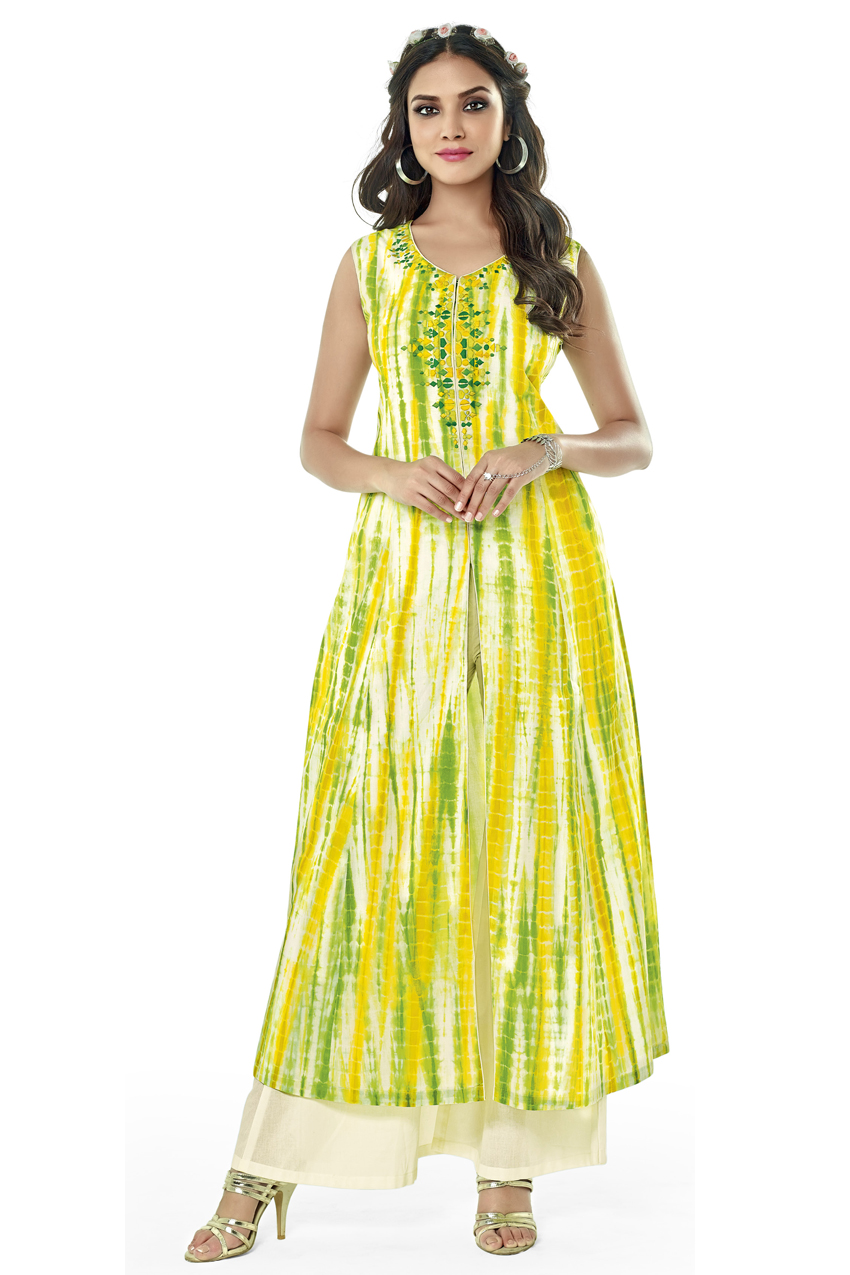 GREEN AND WHITE BANDHANI PRINT KURTI WITH WHITE PLAZO
