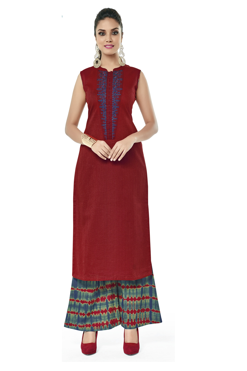 RED KURTI WITH BANDHANI PRINT PLAZO