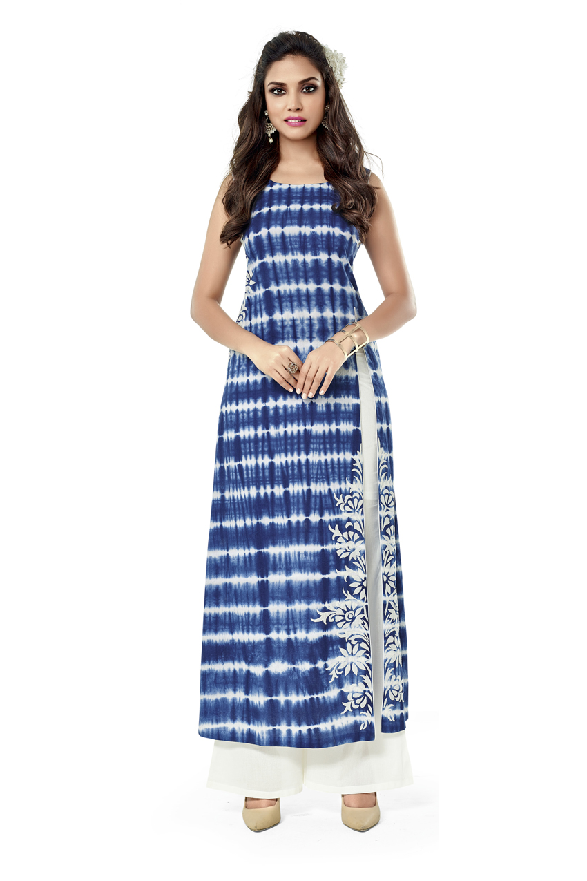 BANDHANI PRINT BLUE KURTI WITH WHITE PLAZO
