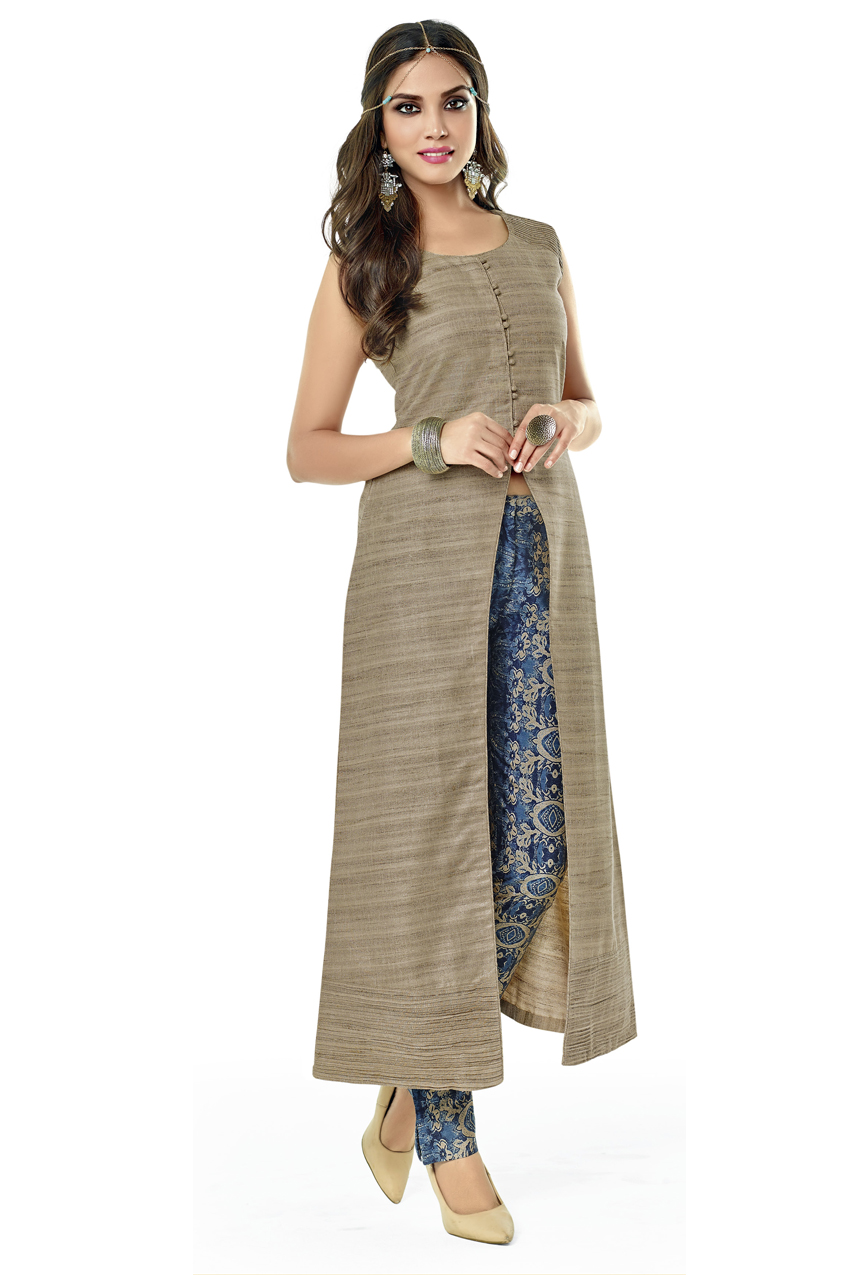 BEIGE FRONT SLIT KURTI WITH PANTS
