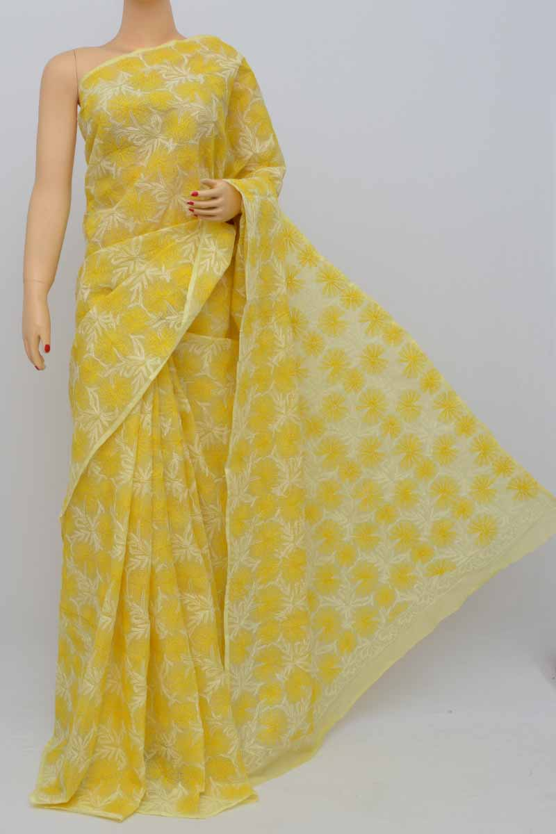 Yellow Colour Hand Embroidered Multithread Kota Cotton Tepchi Work Lucknowi Chikankari Saree(Without Blouse) SS250485