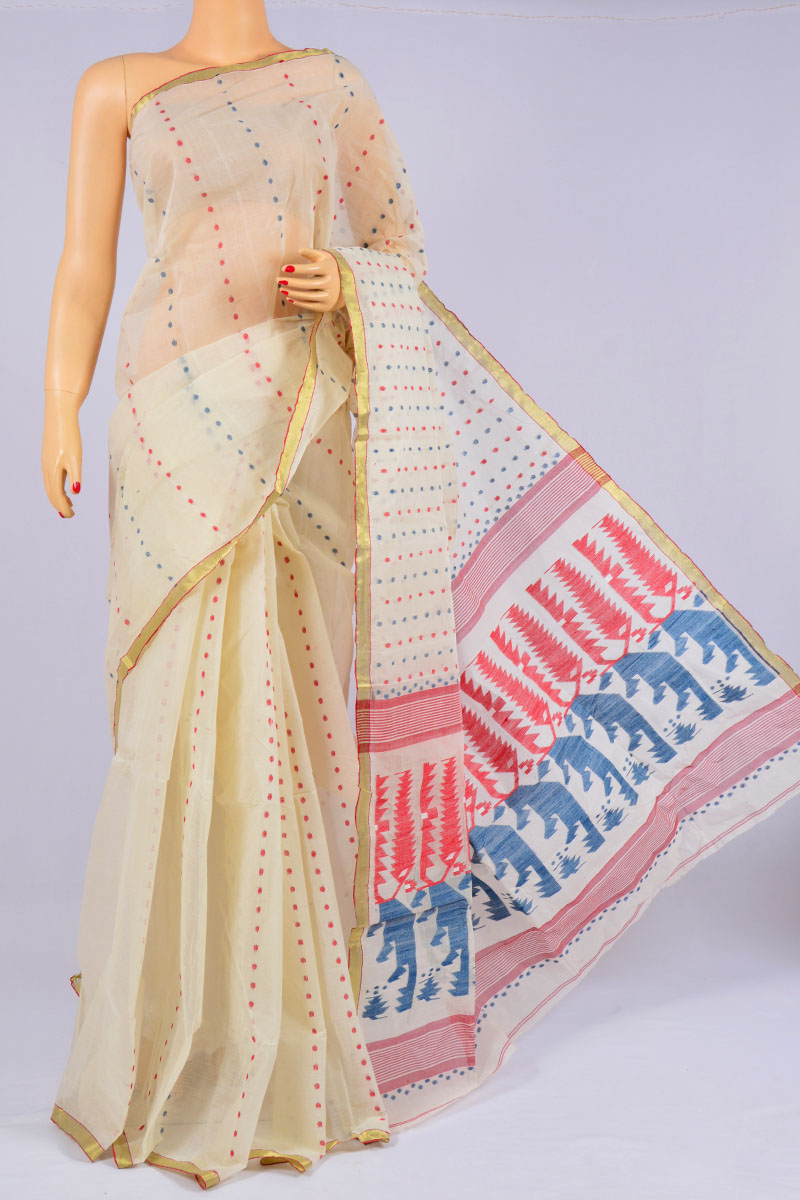 Lime White Color Handwoven Bengal Handloom Pure Cotton Tant Saree (without Blouse) - MC250169