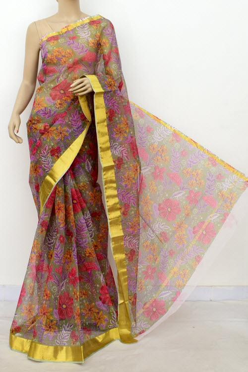efef6bdba0 Premium JP Kota Doria Floral Print Cotton Saree (without Blouse) 13506