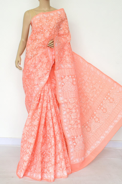 Orange Hand Embroidered Lucknowi Chikankari Saree (Cotton-With Blouse) 14739