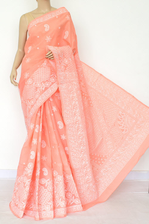 Orange Hand Embroidered Lucknowi Chikankari Saree (Cotton-With Blouse) 14765