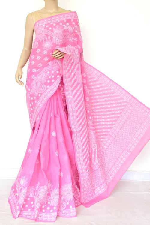 Pink Hand Embroidered Lucknowi Chikankari Saree (Cotton-With Blouse) 14775