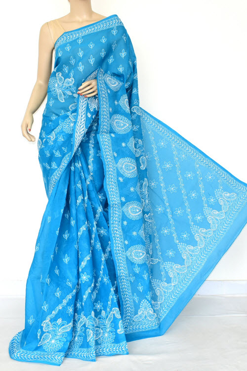 Blue Hand Embroidered Lucknowi Chikankari Saree (Cotton-With Blouse) 14776